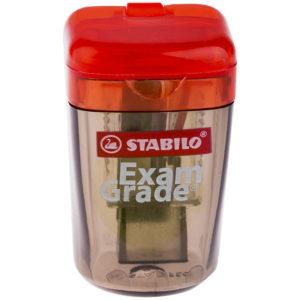 """Точилка пластиковая Stabilo """"Exam Grade"""", 1 отверстие, контейнер, прозрачная"""