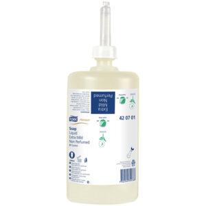 """Картридж с жидким мылом Tork """"Premium""""(S1), ультра-мягкое без запаха(для кода 128245, 221680), 1л"""