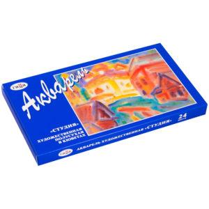 """Акварель Гамма """"Студия"""", художественная, 24 цвета, кюветы, картон"""