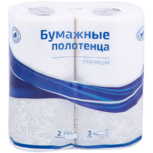 """Полотенца бумажные в рулонах OfficeClean """"Premium"""", 3-слойные, 11м/рул, тиснение, белые, 2шт."""