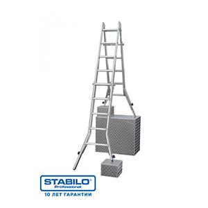 Шарнирная телескопическая лестница-трансформер с перекладинами и 4мя удлинителями боковин