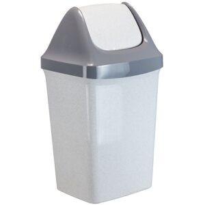 """Ведро-контейнер для мусора (урна) Idea """"Свинг"""", 50л, качающаяся крышка, пластик, мраморный"""