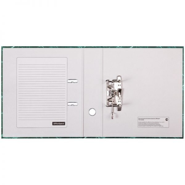 Папка-регистратор OfficeSpace 70мм, мрамор, зеленая