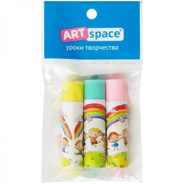 """Набор ластиков ArtSpace """"Радуга"""", 3шт., круглые, термопл. резина, бум. держатель, 50*13*13мм,ассорти"""