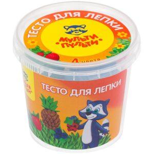 "Тесто для лепки Мульти-Пульти ""Енот на каникулах"", 04 цвета*60г, пластиковый стакан"