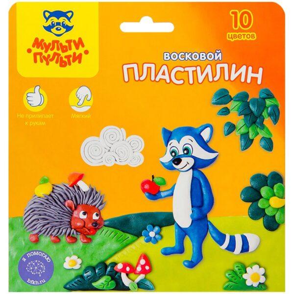 """Пластилин Мульти-Пульти """"Енот в лесу"""", 10 цветов, 150г, восковой, со стеком, картон, европодвес"""