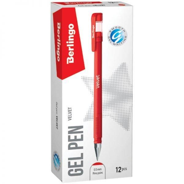 """Ручка гелевая Berlingo """"Velvet"""" красная, 0,5мм, прорезиненный корпус"""