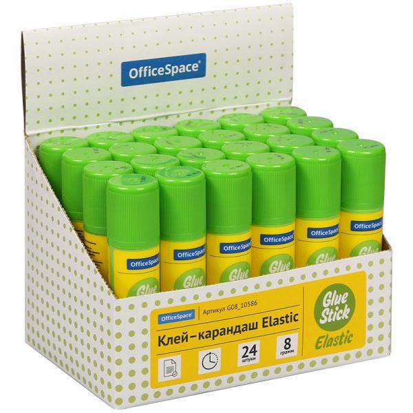 """Клей-карандаш OfficeSpace """"Elastic"""", 08г, улучшенный, дисплей"""