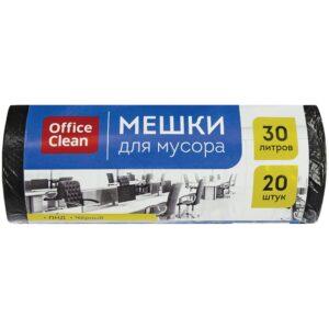 Мешки для мусора  30л OfficeClean ПНД, 48*58см, 8мкм, 20шт., черные, в рулоне