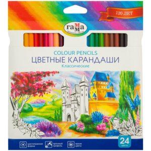 """Карандаши цветные Гамма """"Классические"""", 24цв., заточен., картон. упак., европодвес"""