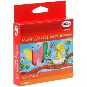 """Мелки для асфальта Гамма """"Мультики"""", цветные, 5шт., 5цв., квадратные, картон. упак, европодвес"""