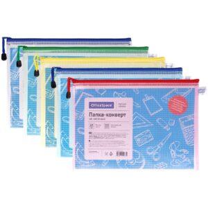 Папка-конверт на молнии OfficeSpace, А4, 250мкм, сетка, прозрачная, ассорти