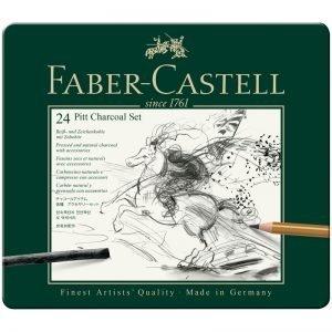 "Набор угля и угольных карандашей Faber-Castell ""Pitt Charcoal"" 24 предмета, метал. кор."