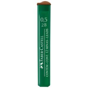 """Грифели для механических карандашей Faber-Castell """"Polymer"""", 12шт., 0,5мм, 2B"""