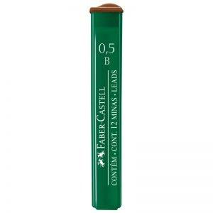 """Грифели для механических карандашей Faber-Castell """"Polymer"""", 12шт., 0,5мм, B"""