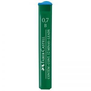 """Грифели для механических карандашей Faber-Castell """"Polymer"""", 12шт., 0,7мм, B"""