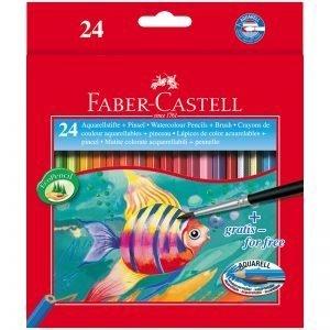 Карандаши акварельные Faber-Castell, 24цв+кисть, картон, европодвес