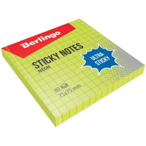 """Самоклеящийся блок Berlingo """"Ultra Sticky"""", 75*75мм, 80л, в клетку, зеленый неон"""