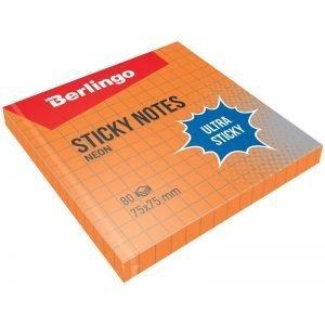 """Самоклеящийся блок Berlingo """"Ultra Sticky"""", 75*75мм, 80л, в клетку, оранжевый неон"""