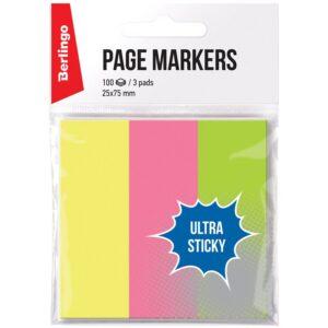 """Флажки-закладки Berlingo """"Ultra Sticky"""", 25*75мм, 100л*3 неоновых цвета, европодвес"""