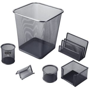 """Настольный набор из металла Berlingo """"Steel&Style"""", 6 предметов, с корзиной, черный"""