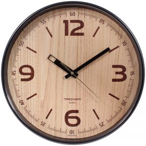 Часы настенные ход плавный, Troyka 77774731, круглые, 30*30*5, коричневая рамка