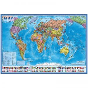 """Карта """"Мир"""" политическая Globen, 1:15,5млн., 1990*1340мм, интерактивная, с ламинацией, европодвес"""