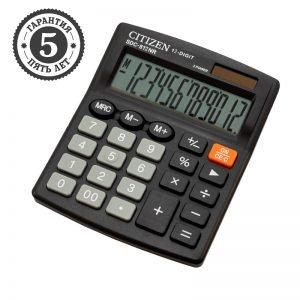 Калькулятор настольный Citizen SDC-812NR, 12 разрядов, двойное питание, 102*124*25мм, черный