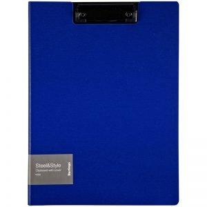 """Папка-планшет с зажимом Berlingo """"Steel&Style"""" A4, пластик (полифом), синяя"""