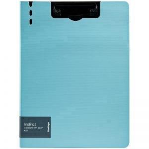 """Папка-планшет с зажимом Berlingo """"Instinct"""" A4, пластик (полифом), аквамарин/черный"""