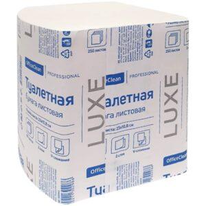Бумага туалетная листовая OfficeClean Professional (V-сложение) 2-слойная, 250лист/пач, белая