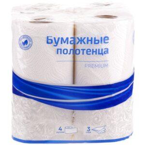 """Полотенца бумажные в рулонах OfficeClean """"Premium"""", 3-слойные, 11м/рул, тиснение, белые, 4шт."""