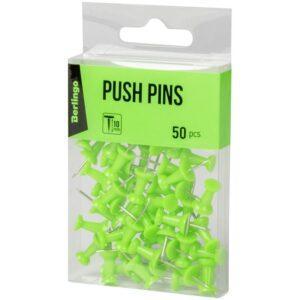 Кнопки силовые Berlingo, 50шт., цветные, ПВХ упак., европодвес, зеленые