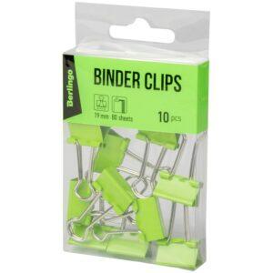 Зажимы для бумаг 19мм, Berlingo 10 шт, цветные, ПВХ упак., европодвес, зеленые