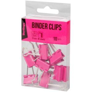 Зажимы для бумаг 19мм, Berlingo 10 шт, цветные, ПВХ упак., европодвес, розовые