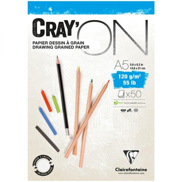 """Блокнот для эскизов и зарисовок 50л. А5 на склейке Clairefontaine """"Cray'ON"""", 120г/м2, мелкозерн."""