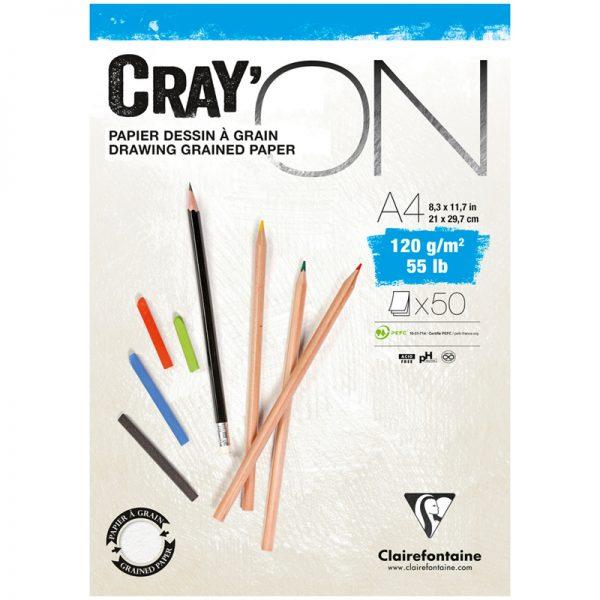 """Блокнот для эскизов и зарисовок 50л. А4 на склейке Clairefontaine """"Cray'ON"""", 120г/м2, мелкозерн."""