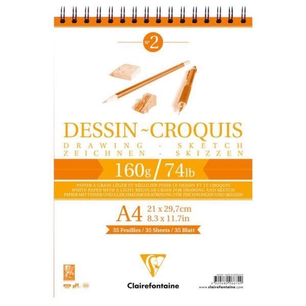 "Блокнот для эскизов и зарисовок 35л. А4 на гребне Clairefontaine ""Dessin croquis"", 160г/м2"
