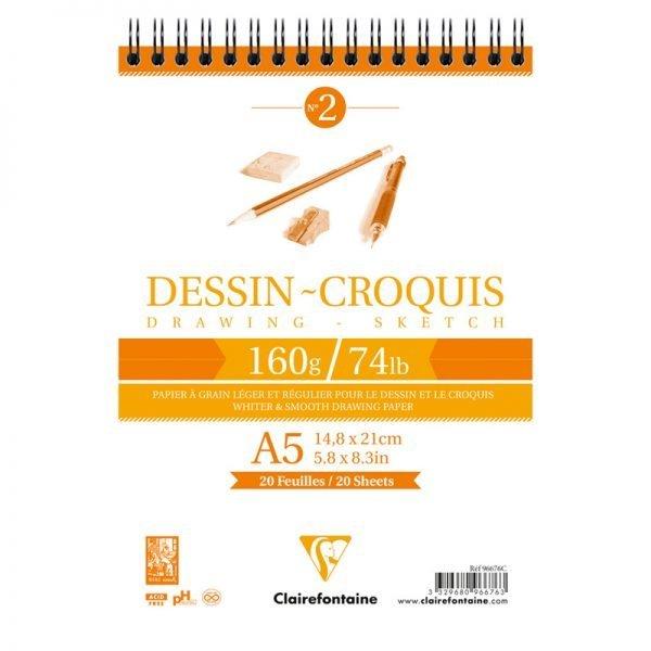 "Блокнот для эскизов и зарисовок 35л. А5 на гребне Clairefontaine ""Dessin croquis"", 160г/м2"