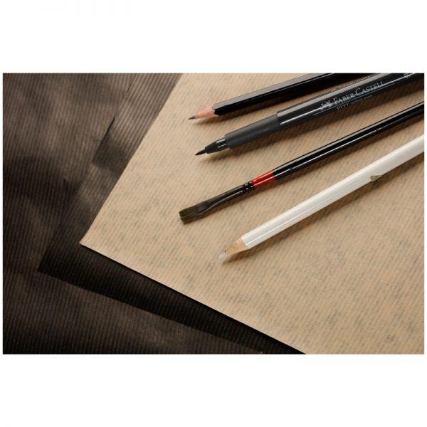 """Блокнот для эскизов и зарисовок 60л. А4 на склейке Clairefontaine """"Kraft"""", 90г/м2,верже,черный/крафт"""