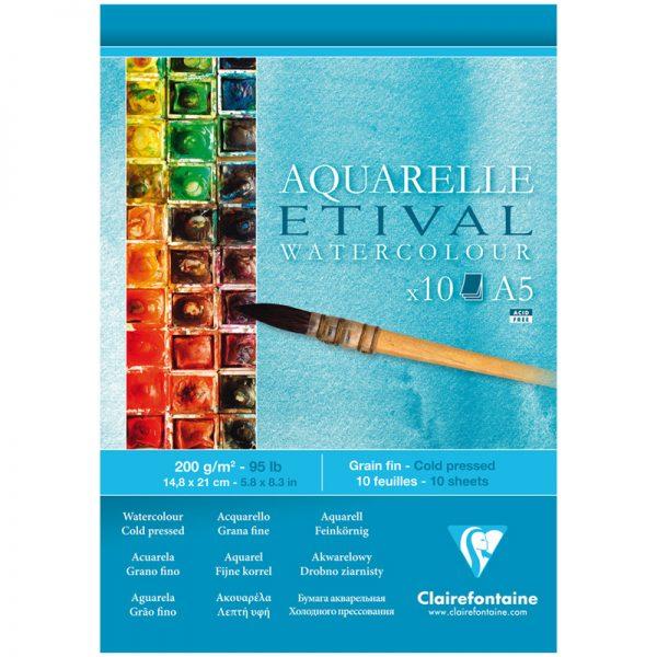 """Альбом для акварели 10л., А5, на склейке Clairefontaine """"Etival"""", 200г/м2,  холодное прессование"""