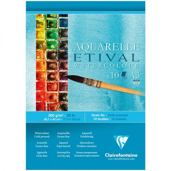 """Альбом для акварели 10л., А3, на склейке Clairefontaine """"Etival"""", 200г/м2,  холодное прессование"""