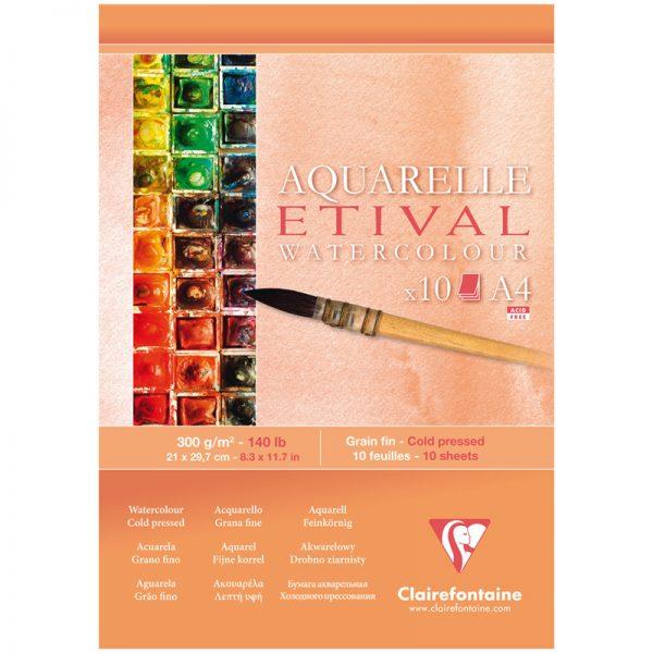 """Альбом для акварели 10л., А4, на склейке Clairefontaine """"Etival"""", 300г/м2,  холодное прессование"""