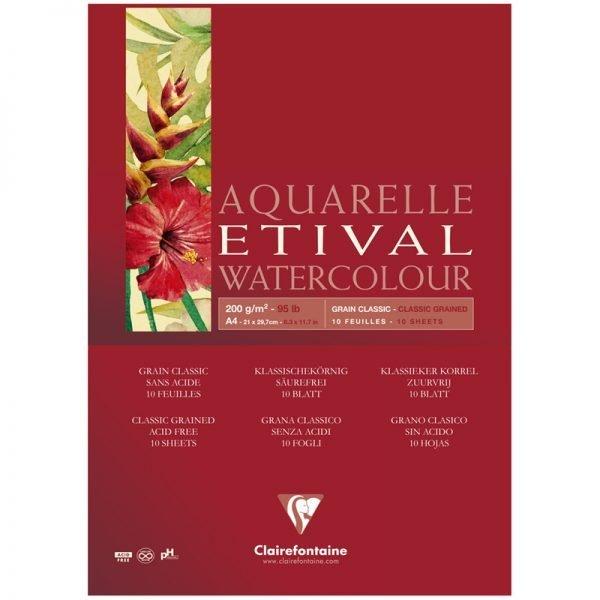 """Альбом для акварели 10л., А4, на склейке Clairefontaine """"Etival"""", 200г/м2,  классическое зерно"""