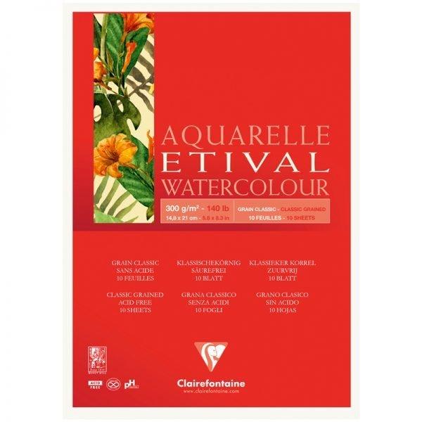 """Альбом для акварели 10л., А5, на склейке Clairefontaine """"Etival"""", 300г/м2,  классическое зерно"""