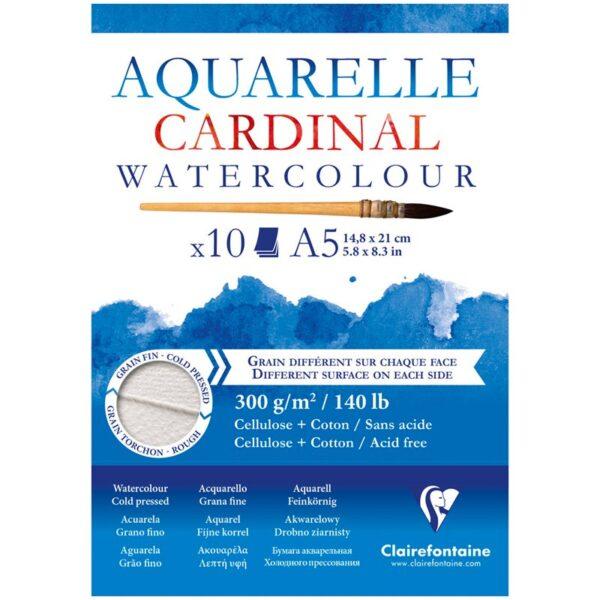"""Альбом для акварели 10л., А5, на склейке Clairefontaine """"Cardinal"""",300г/м2,торшон,холод.пресс.,хлоп"""