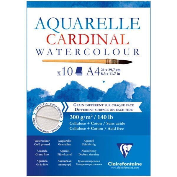 """Альбом для акварели 10л., А4, на склейке Clairefontaine """"Cardinal"""",300г/м2,торшон,холод.пресс.,хлоп"""