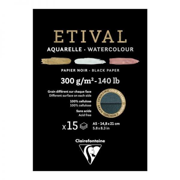 """Альбом для акварели 15л., А5, на склейке Clairefontaine """"Etival"""", 300г/м2, торшон,холод.пресс.,черн."""