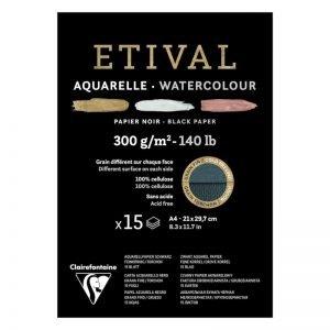 """Альбом для акварели 15л., А4, на склейке Clairefontaine """"Etival"""", 300г/м2, торшон,холод.пресс.,черн."""