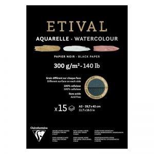 """Альбом для акварели 15л., А3, на склейке Clairefontaine """"Etival"""", 300г/м2, торшон,холод.пресс.,черн."""